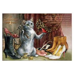 Chabotier, carte postale de chat de Séverine Pineaux. Coll. Métiers des chats, éd. Au Bord des Continents