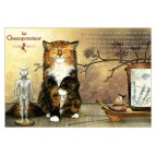 Chacuponcteur, carte postale de chat de Séverine Pineaux. Coll. Métiers des chats, éd. Au Bord des Continents