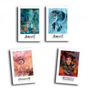 4 Cartes postales d'art de Christophe Dougnac, L'Univers de Krystoforos