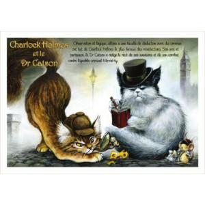 Charlock Holmes et le Dr Caston, carte postale de chat de Séverine Pineaux, coll. Chats de la littérature