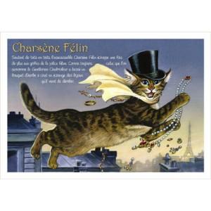 Charsène Félin, carte postale de chat de Séverine Pineaux, coll. Chats de la littérature