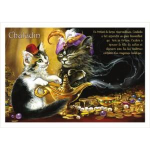 Chaladin, carte postale de chat de Séverine Pineaux, coll. Chats de la littérature