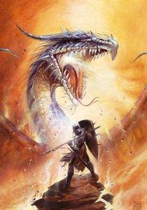 Carte Postale De Didier Graffet, Owain défie le dragon