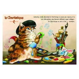 Carte postale de chat de Séverine Pineaux, Le Chartistique, coll. Caractère de chat. Editions Au Bord des Continents...