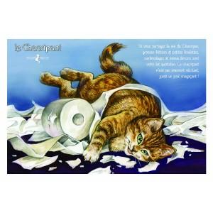 Carte postale de chat de Séverine Pineaux, Le Chacripant, coll. Caractère de chat. Editions Au Bord des Continents...