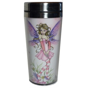 Mug thermos fée rose aux ailes violettes