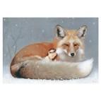 Carte postale «La fée et le renard sous la neige», carte postale féerique de Erlé Ferronnière