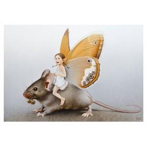 Carte postale «La fée sur la souris», carte postale féerique de Erlé Ferronnière