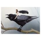 Carte postale «La fée sur le corbeau», carte postale féerique de Erlé Ferronnière