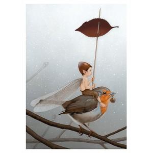 Carte postale «Le Fé sur le rouge-gorge», carte postale féerique de Erlé Ferronnière