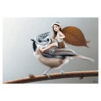 Carte postale «La fée sur la mésange huppée», carte postale féerique de Erlé Ferronnière