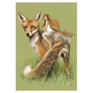 Carte postale « La fée sur le renard », carte postale originale de Erlé Ferronnière