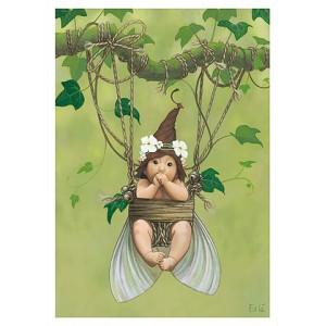 Carte postale « Le bébé fée suspendu », carte postale originale de Erlé Ferronnière
