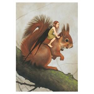 Carte postale «La fée sur l'écureuil», carte postale originale de Erlé Ferronnière
