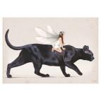 Carte postale «La fée sur le chat noir», carte postale originale de Erlé Ferronnière