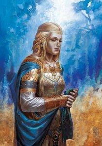 Guenievre, épouse du roi Arthur, carte postale de Didier Graffet