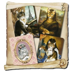 4 carnets chats historiques de Séverine Pineaux Les Histochats, éditions Au Bord des Continents...