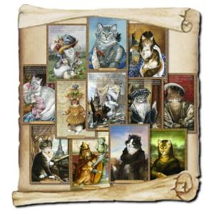 12 cartes postales de chats historiques de Séverine Pineaux: Histochats 2019