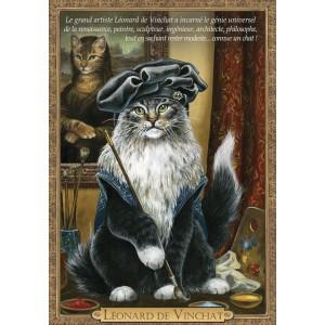 Carte postale de chat historique de Séverine Pineaux, Léonard de Vinchat - Histochats 2019.