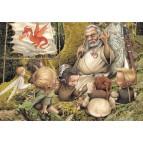 L'école de la forêt, carte postale féerique de Brucero