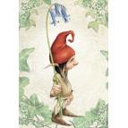 Lutin à la clochette, carte postale féerique de Brucero