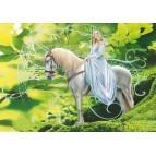L'elfe cavalière, carte postale féerique de Brucero