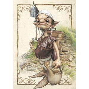 Lutin cultivateur, carte postale féerique de Brucero