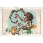 Korrigan joueur de harpe, carte postale féerique de Brucero