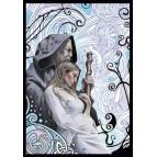 Merlin et Viviane, carte postale féerique de Brucero