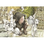 L'éducation du jeune Merlin, carte postale féerique de Brucero