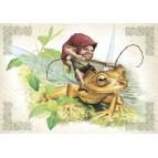 La chasse en grenouille, carte postale féerique de Brucero