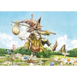 Carte postale féerique « Le grand voyage de Monsieur des piou-piou... » de Brucero
