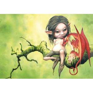 Carte postale de Brucero: Le lutin et le petit dragon
