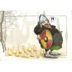 Carte postale de Brucero: Le chasseur de dragons et sa bande de crapoussins