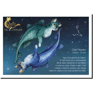 Carte postale Chat Poissons de Séverine Pineaux – Chats du Zodiaque