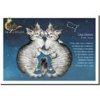 Carte postale Chat Gémeaux de Séverine Pineaux – Chats du Zodiaque