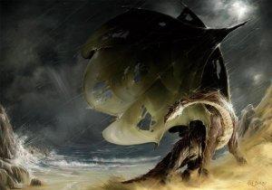 Dragon Naufrageur, carte postale de Elian Black'Mor - Piste des Dragons