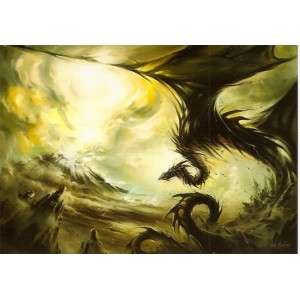 Dragon Cendre, carte postale de Elian Black'Mor - Piste des Dragons