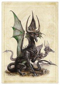 Carte postale Dragon Noir de Séverine Pineaux