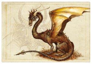 Carte postale Dragon Brun de Séverine Pineaux