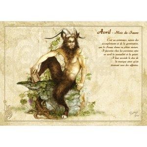 Carte postale Avril - Mois du Faune de Séverine Pineaux