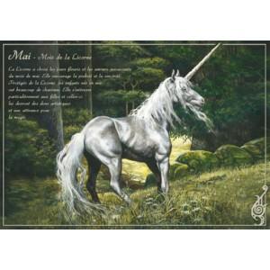 Carte postale Mai - Mois de la Licorne de Séverine Pineaux