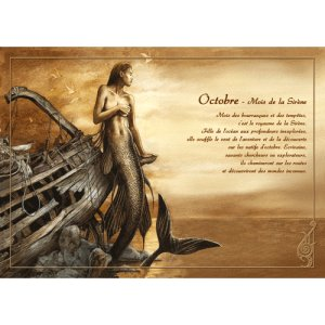 Carte postale Octobre - Mois de la Sirène de Séverine Pineaux