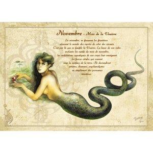 Carte postale Novembre - Mois de la Vouivre de Séverine Pineaux