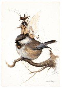 Fée et Mésange sur la Branche de Jean-Baptiste Monge - Fées et Oiseaux