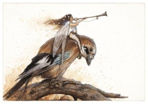 Fée à la Trompette sur le Geai de Jean-Baptiste Monge - Fées et Oiseaux