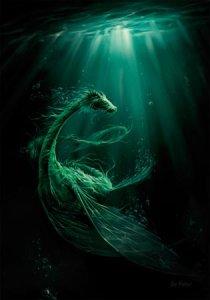 """Affichette """"Dragon Abysses"""" de Elian Black'Mor (Coll. Les Dragons)"""