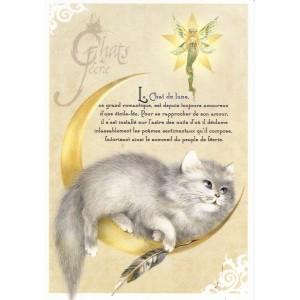 Carte postale Le Chat de Lune de Séverine Pineaux - Chats de Féerie