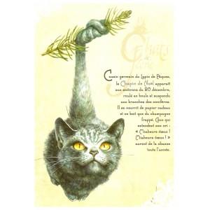 Carte postale Le Chapin de Noël de Séverine Pineaux - Chats de Féerie
