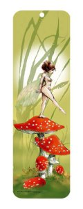 Marque pages Fée sur les champignons rouges de Pascal Moguérou